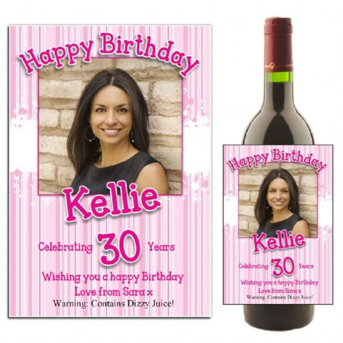 Personalised Pink Hearts Happy Birthday Wine / Champagne Bottle PHOTO Label N33